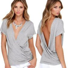 Women Sexy Deep V-Neck Casual T-Shirts Short Sleeve Solid  Backless Tops Summer