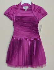 iz AMY BYER GIRL SHRUG DRESS PINK FUCHSIA CHRISTMAS GLITTER FLOWER GIRL WEDDING