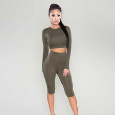 Women Gym Tight Tracksuit Workout Sweat Suit Long Sleeve Crop Top Fifth Pants