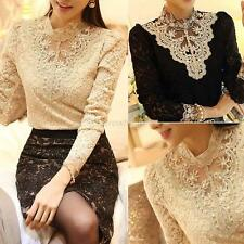 Sexy Women Long Sleeve Lace Shirt Casual Blouse Slim Party Tops T Shirt Clubwear
