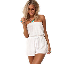 Summer Women Sexy White Tunic Rompers Bodysuits Backless Short Bodycon Jumpsuits