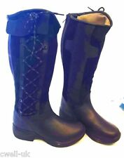 BLACK KINGSTON NEW HORSE RIDING YARD COUNTRY BOOTS LEATHER sizes 4 - 8 adult UK