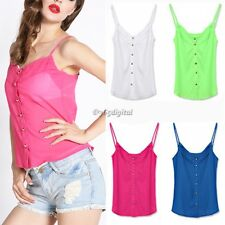 Candy Color Sexy Blouse Shirts Chiffon Blouse Spagetti Strap Vest Tops New 35DI