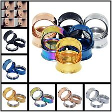LOT60pcs Stainless Steel Ear Tunnels Plugs Ear Gauge Screw Back Body Piercing