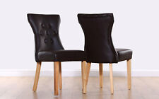 2 4 6 8 Bewley Brown Leather Dining Room Chairs Oak Leg