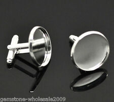 Wholesale Lots Silver Plated Cabochon Setting Cuff Links 26x22mm(Fit 20mm)