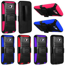 For HTC 10 One M10 Rugged Armor Hybrid Stand Holster Rubber Hard Case Cover