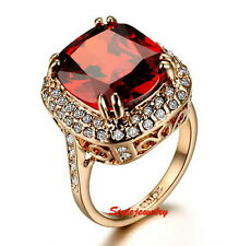 Rose Gold Plate Large Oval Ruby Red Swarovski Crystal Diamond Cocktail Ring R188