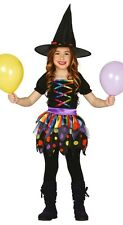 Girls Rainbow Witch Halloween Colourful Fancy Dress Costume Outfit 3-12 years