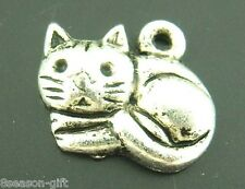 Gift Wholesale Silver Lovely Cat Charms Pendants 15*13mm