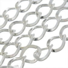 Gift Wholesale Silver Plated Square Curb Chains Findings 7x8mm