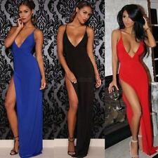 Women Summer Sexy Backless Long Maxi Dress Front Slit Party Strap Dress S/M/L/XL