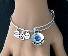 "Hand Stamped ""Scottish & Proud of it"" Adjustable Charm Bangle Bracelet w/Initial"