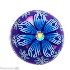 Gift Wholesale Button Fit Snap Bracelet Rhinestone Polymer Clay Flower 18mm
