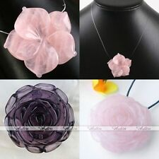 Natural Rose Quartz Gemstone Amethyst Carved Flower Pendant For Necklace Jewelry
