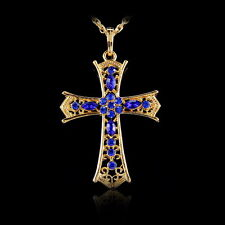 18K Gold gp Cross Crystal Rhinestone Pendant Sweater Chain Necklace Women's Gift