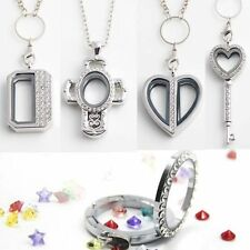 Various DIY GIFT Heart Cross Living Memory Floating Charm Glass Locket Necklace