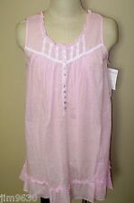 NWT LG XL Eileen West Short & Sleeveless Cotton Pink Swiss Dot Night Gown