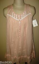 NWT MED or  XL  Eileen West Short & Sleeveless Cotton Peach Swiss Dot Night Gown
