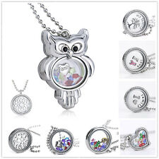 Living Memory Floating Glass Flower Charm Locket Crystal Lariat Necklace Pendant