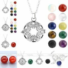 Hollow Cage Locket Charm Pendant Chain Necklace With Natural Chakra Gems Ball