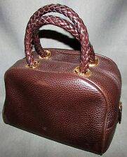 Italian Designer DESMO Brown Leather Handbag Purse with Braided Handle Straps