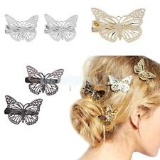 Fashion Lady Butterfly Hairpin Shiny Style Hair Clip Accessories Gold/Silver