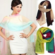 Women's Gradient Color Pashmina Silk Soft Long Shawl Tassel Scarf Wrap New