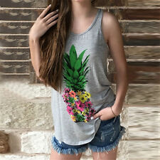 Fad Women Floral Pineapple Sleeveless Loose Tank Tops Casual Beach Shirts Vests