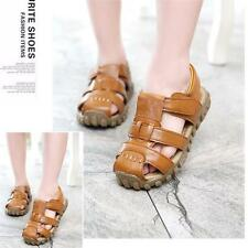 New Baby Kids Boys Girls Summer Leather Velcro Hollow Sandals Shoes Soft Sole LG