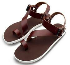 Mens Roman Style thongs Beach Gladiator Leather Sandals ankle strap buckle shoes