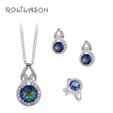 JS621 Anniversary Rainbow Topaz Silver Stamped Necklace Pendant Earrings Ring
