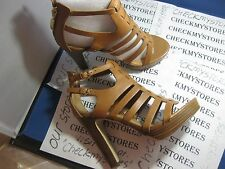 nib NEW Guess Edelina 2 High Heel Platform Leather Designer Sandals Dual Buckle