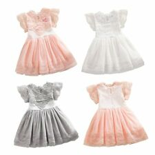 Summer Baby Girls Lace Floral Short Sleeve Tulle Dacing Party Dress Casual 2-7Y