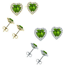 6mm Peridot Birth Gem Stone Stud Halo Solitaire Heart Silver Pair Earrings