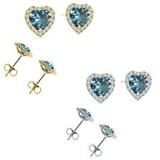 6mm Aquamarine Birth Gem Stone Stud Halo Solitaire Heart Silver Pair Earrings