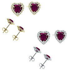 6mm Alexandrite Birth Gem Stone Stud Halo Solitaire Heart Silver Pair Earrings