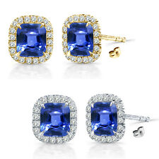 6mm Sapphire Birth Gem Stone Stud Halo Solitaire Cushion Silver Pair Earrings