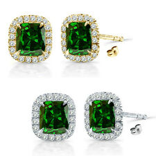 6mm Emerald Birth Gem Stone Stud Halo Solitaire Cushion Silver Pair Earrings