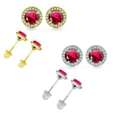 4.5MM Ruby Gem Stone Stud Halo Screw Back Round Earrings 14k White Yellow Gold