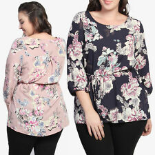 TheMogan Plus Floral 3/4 Sleeve Belted Peasant Blouse Print Tunic Top Extender