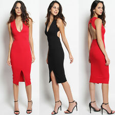 TheMogan Sleeveless Deep V Neck Open Back Front Split Bodycon Midi Dress