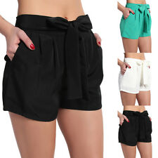 TheMogan Tie Front Pleated High Waisted Pocket Shorts Casual to Dress Up