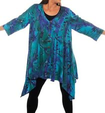 Plus Size We Be Bop WATER FLOWER Flat Rayon SOUTH BEACH Jacket  Lagenlook Artsy