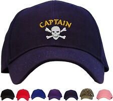 Pirate Captain w/ Skull Embroidered Baseball Cap - Available in 7 Colors - Hat