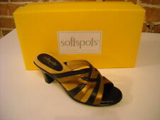 Softspots Platina Brown & Bronze Leather Slide Sandals New