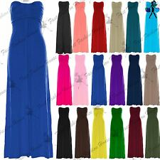 Womens Ladies Sleeveless Long Top Tie Knot Bandeau Bow Boobtube Maxi Dress