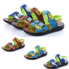 Children Boys Sandals Soft Bottom Tide Beach Velcro Leather Sports Sandals Shoes
