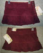BONGO Maroon Boho Ruffle Cord Corduroy Buckle Pleat Mini Hipster Low Rise SKIRT