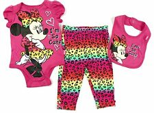 Infant Girl's Minnie Mouse 3-pc Set Disney Baby Bodysuit Pants Bib I'm So Cute